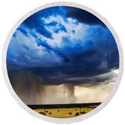Hay In The Storm Round Beach Towel