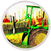 Hay It's A Tractor Round Beach Towel