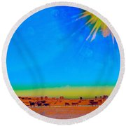 Hay Meadow To Water Round Beach Towel