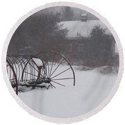 Hay Rake In The Snow Round Beach Towel