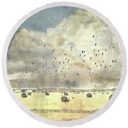 Round Beach Towel featuring the photograph Hay Rolls Near Broken Arrow Oklahoma by Janette Boyd