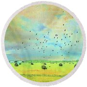 Round Beach Towel featuring the photograph Hay Rolls Near Broken Arrow Oklahoma Two by Janette Boyd