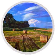 Hay Rolls On The Farm By Christopher Shellhammer Round Beach Towel