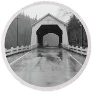 Hayden Covered Bridge, Alsea,  Oregon Round Beach Towel