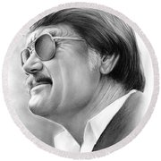 Hayden Fry Round Beach Towel by Greg Joens