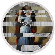 Hayes's The Kiss And Vivien Leigh With Clark Gable Round Beach Towel by Luigi Tarini