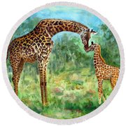 Round Beach Towel featuring the painting Haylee's Giraffes by LaVonne Hand