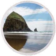 Round Beach Towel featuring the photograph Haystack Rock #1 by Rebecca Cozart