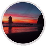 Haystack Rock At Sunset 2 Round Beach Towel