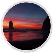 Haystack Rock At Sunset Round Beach Towel