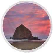 Haystack Rock- First Light Round Beach Towel
