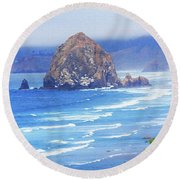Haystack Rock Oregon Round Beach Towel by Tom Janca