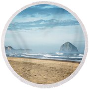 Haystack Rock Pacific City Round Beach Towel