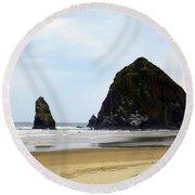 Haystack Rock Round Beach Towel