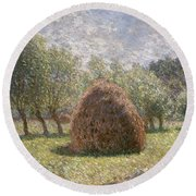 Haystacks At Giverny Round Beach Towel