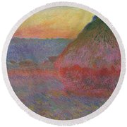 Haystacks, Pink And Blue Impressions, 1891 Round Beach Towel