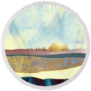 Hazy Afternoon Round Beach Towel