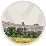 Round Beach Towel featuring the photograph Hazy Chimney Rock by Sue Smith