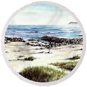 Hazy Coastline Round Beach Towel