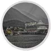 Round Beach Towel featuring the photograph Hazy Day In Paradise  by Timothy Latta