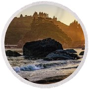Hazy Golden Hour At Trinidad Harbor Round Beach Towel