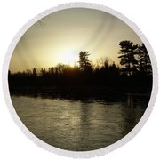 Hazy Mississippi River Sunrise Round Beach Towel by Kent Lorentzen