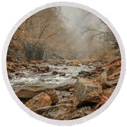 Hazy Mountain Stream #2 Round Beach Towel