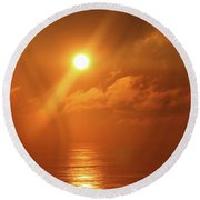 Hazy Orange Sunrise On The Jersey Shore Round Beach Towel