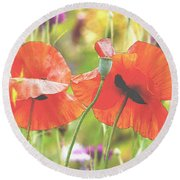 Hazy Poppies And Field Round Beach Towel