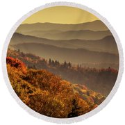 Hazy Sunny Layers In The Smoky Mountains Round Beach Towel by Teri Virbickis