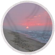 Round Beach Towel featuring the photograph Hazy Sunrise by  Newwwman