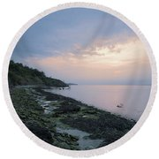 Hazy Sunset Round Beach Towel