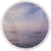 Hazy Sunset In Bar Harbor Maine Round Beach Towel