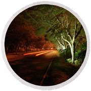 Hb Drive Time Lapse Round Beach Towel