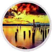 Hdr Vibrant Titlow Beach Sunset Round Beach Towel