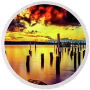 Hdr Vibrant Titlow Beach Sunset Round Beach Towel by Rob Green