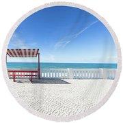 He And She Round Beach Towel by Edgar Laureano