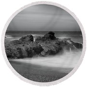 He Enters The Sea Round Beach Towel by Laurie Search
