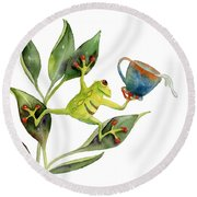 He Frog Round Beach Towel by Amy Kirkpatrick
