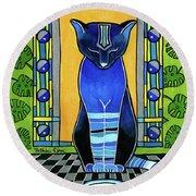 He Is Back - Blue Cat Art Round Beach Towel