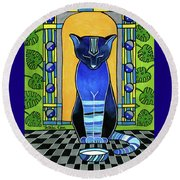 He Is Back - Blue Cat Art Round Beach Towel