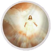 Round Beach Towel featuring the painting  He Is Risen by Valerie Anne Kelly