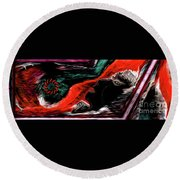 Round Beach Towel featuring the painting He Is Who He Is by Sherri Of Palm Springs