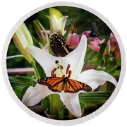 Round Beach Towel featuring the photograph He Still Gives Me Butterflies by Karen Wiles
