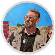 Round Beach Towel featuring the painting He Was One Of Us by Tom Roderick
