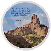 Round Beach Towel featuring the photograph He Who Dwells by Debby Pueschel