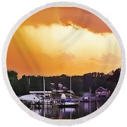 Round Beach Towel featuring the photograph Head For Safety by Brian Wallace