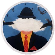 Head In The Cloud Round Beach Towel by Thomas Blood