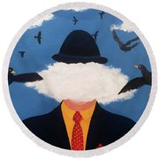 Head In The Cloud Round Beach Towel