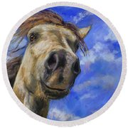 Head In The Clouds Round Beach Towel by Billie Colson